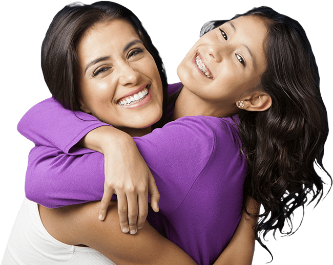 Mother and preteen daughter smiling