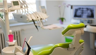Bright dental exam room